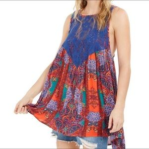 FREE PEOPLE $88 Count Me In Trapeze Dress Hot Red